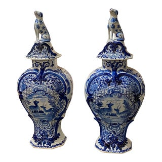 Mid 19th Century Delft Vases Dog at Top of Lids - a Pair For Sale