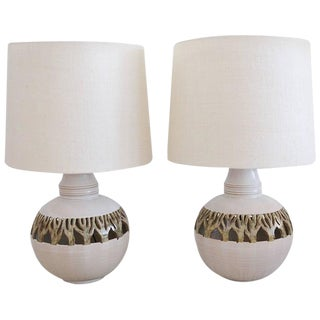 1980s Mid-Century Modern Ceramic Cut-Out Lamps - a Pair