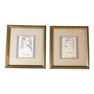 Pair Original Vintage Female Nude Robert Cooke Ink Drawings For Sale