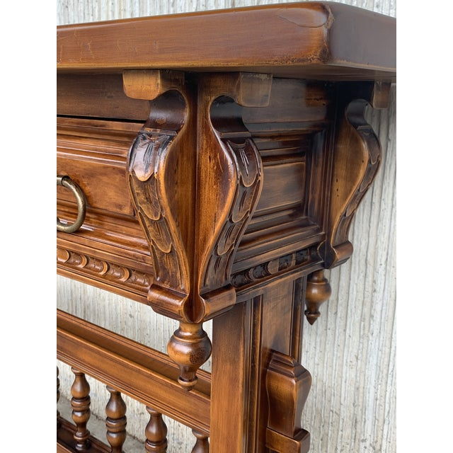 Wood Baroque Console Table in Walnut With Three Carved Drawers and Stretcher For Sale - Image 7 of 11