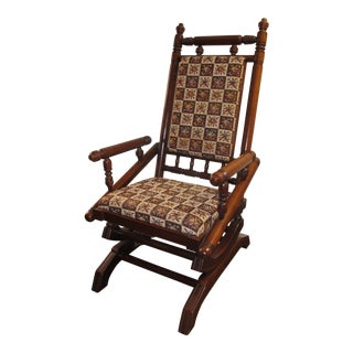 Antique Eastlake Victorian Turned Walnut Platform Rocking Chair For Sale