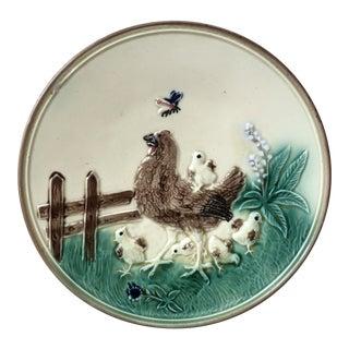 German Majolica Hen & Chicks Wall Plate Circa 1900 For Sale