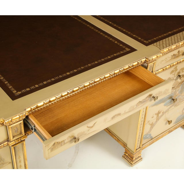 Chinoiserie Hand-Painted Parcel Gilt Partners Pedestal Desk For Sale In New York - Image 6 of 12