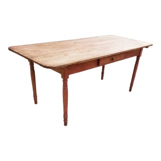 Pine Table With a Drawer For Sale