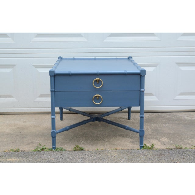 Chinoiserie Heritage Faux Bamboo Navy Wood SideTable For Sale - Image 10 of 10