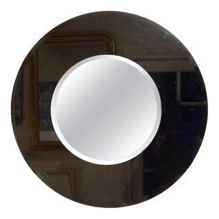 Large Italian Fontana Arte Style Round Beveled Mirror For Sale