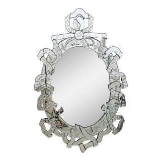Venetian Mirror With Ribbon Motif, Italy, 1950s For Sale