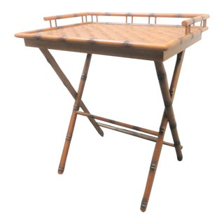 Burnt Bamboo Folding Serving Table For Sale