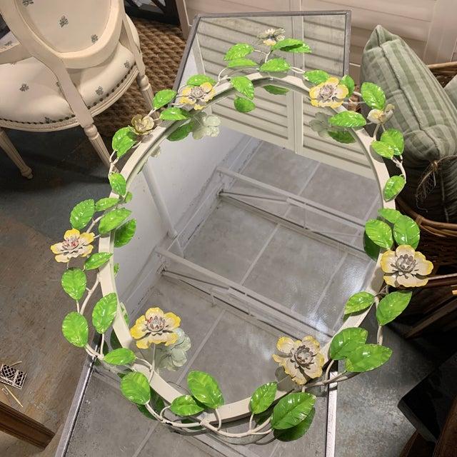 Vintage Tole Flower Mirror For Sale - Image 9 of 9