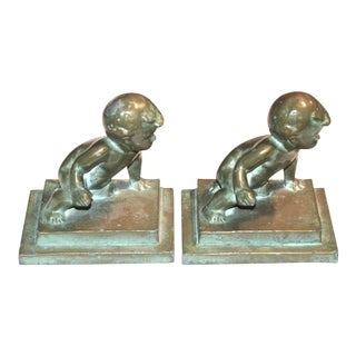 Brooklyn's Louise Wilder 1927 Bronze Bookends Pair