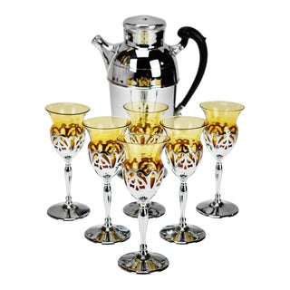 Art Deco Farber Krome Craft Amber Glass Cocktail Set - 7 Piece Set For Sale