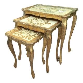 Hollywood Regency Florentine Nesting Tables - Set of 3 For Sale