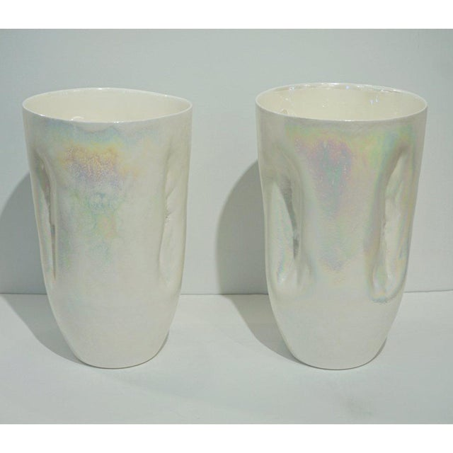 Early 21st Century Contemporary Minimalist Iridescent Pearl White Murano Glass Vases - a Pair For Sale - Image 5 of 9