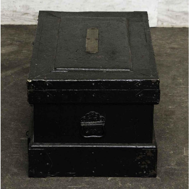 Bronze Vintage Accessories Box With Iron Straps For Sale - Image 7 of 10