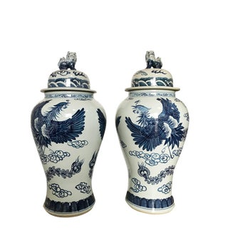 "35"" H Mansion Size Chinoiserie B & W Porcelain Ginger Jars - a Pair"
