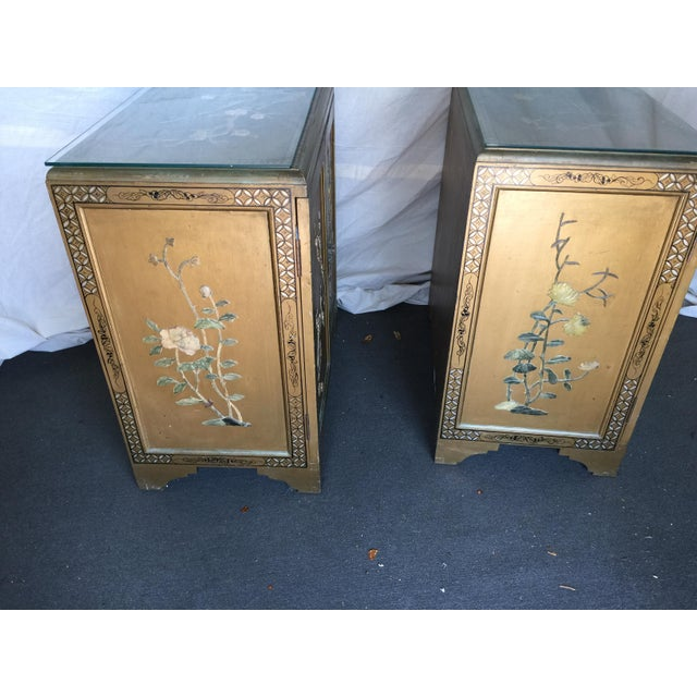 Pair Hollywood Regency Chinese Chinoiserie Chests With Hardstone Decoration For Sale - Image 9 of 11