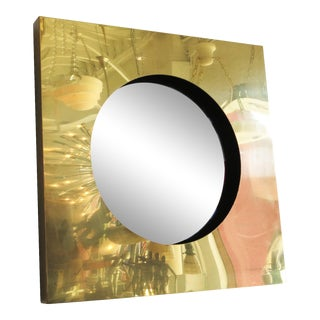 Polished Brass Square Port Hole Mirror by Curtis Jere - 50th Anniversary Sale For Sale