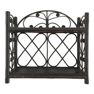 Vintage Black Peacock Wicker Hanging Shelf For Sale