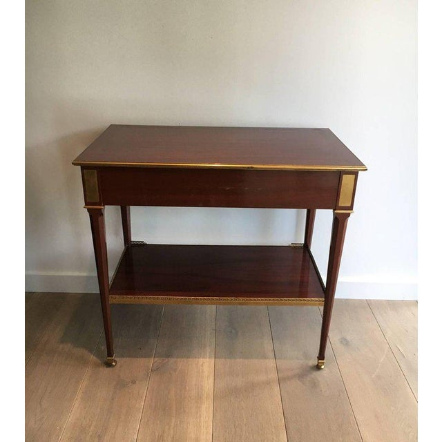 Mahogany and Brass Console Table Attributed to Maison Jansen - Image 10 of 11