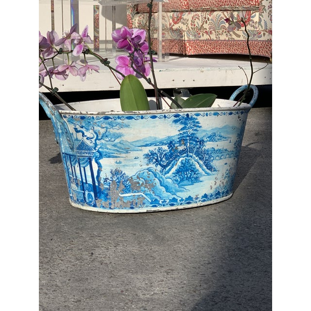 Blue Tole French Style Chinoiserie Planter For Sale - Image 10 of 11