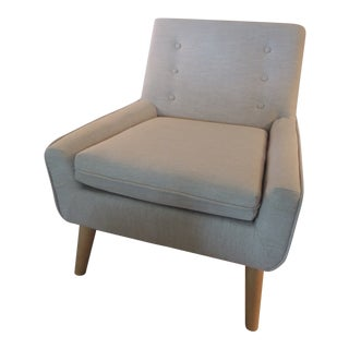 Contemporary Open Arm Linen Club Chair With Tufted Back For Sale