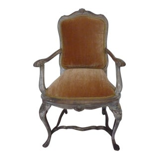 French Antique Mohair Distressed Armchair For Sale