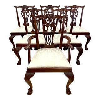 Vintage Chippendale Carved Mahogany Dining Chairs- Set of 6 For Sale