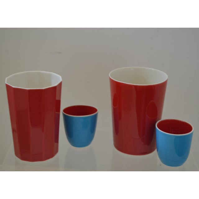 Japanese Fine Porcelain Sake Flask and Cups - Set of 4 Turquoise Blue Red and White For Sale - Image 10 of 12