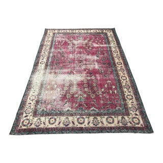 Handwoven Antique Distressed Overdyed Peach Rug - 5′7″ × 8′8″