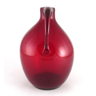 Vintage Blenko Hand Blown Ruby Red Glass Jug With Handle Preview