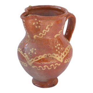 Vintage Pottery Slipware Pitcher For Sale
