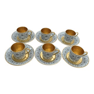 Bernardaud & Co. Limoges Gold Gilt Demitasses -Set of 6 For Sale