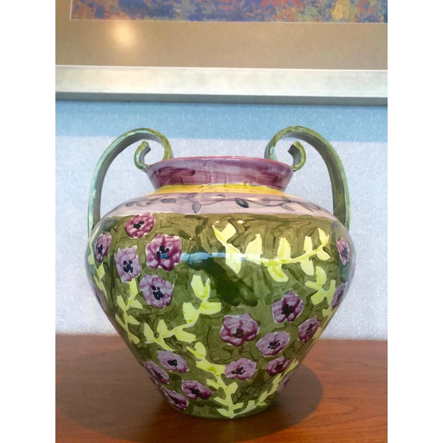 Impressionist Hand Painted Ceramic Urn Vase, Italy 1980's For Sale - Image 10 of 13