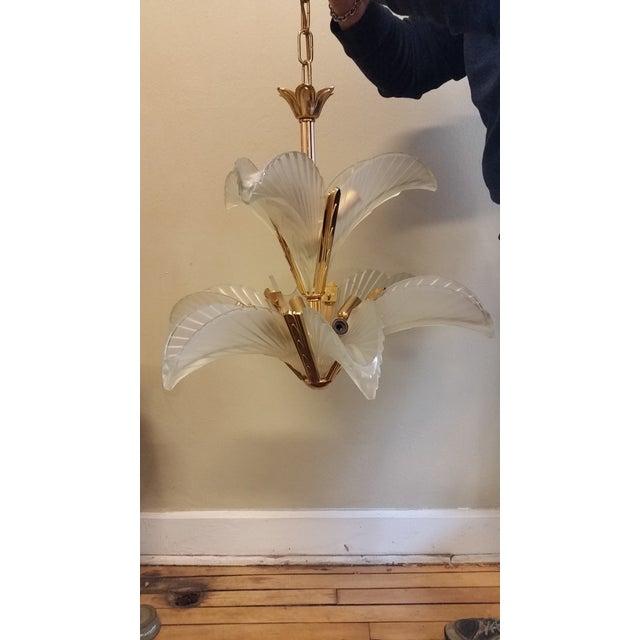 Art Deco Italian Brass & Satin Glass Chandelier - Image 2 of 11