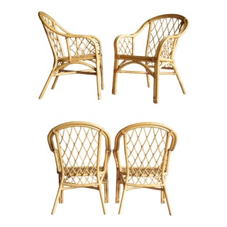 Boho Chic Diamond Pattern Rattan Armchairs, Set of 4 For Sale