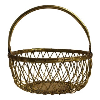 Woven Brass Basket, Mid 20th-Century For Sale