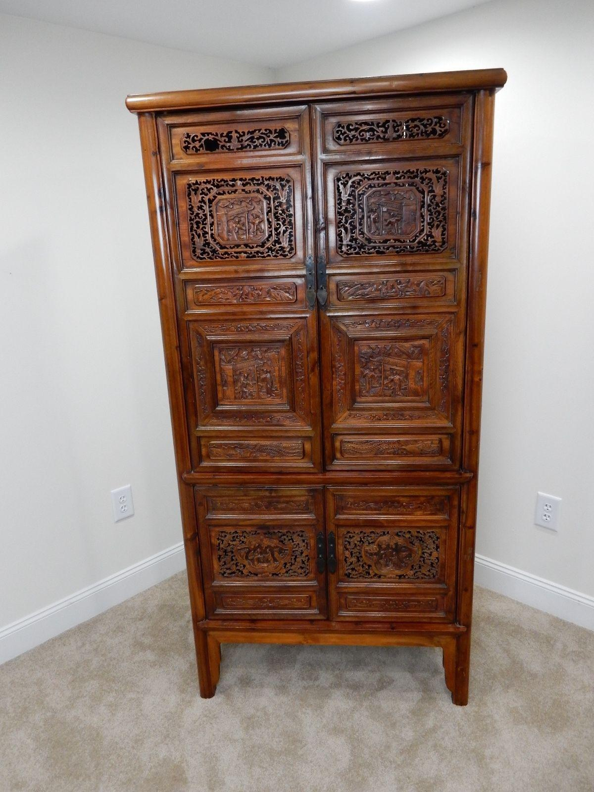 Chinese Carved Teak Wood Cabinet   Image 2 Of 11