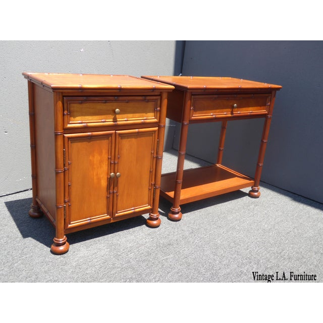 Boho Chic Restoration Hardware Tiki Palm Beach Style Nightstands - A Pair For Sale - Image 3 of 11