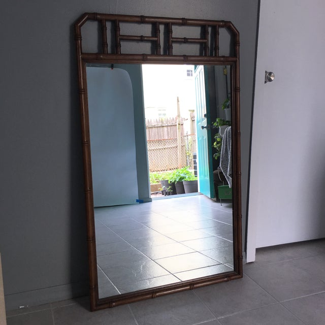 Boho Chic Mid Century Faux Bamboo Wall Mirror For Sale - Image 3 of 6