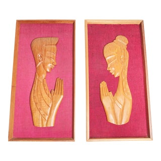 1960s Asian Hand Carved Teak Wood Framed Sawadee Kap Greeting / Praying Portraits on Vibrant Woven Fabric - 2 Pieces For Sale