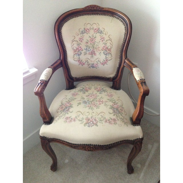 A beautifully crafted in Milan, this pair of armchairs is dated 1995. Beautiful fabric with nailhead trim. Very...