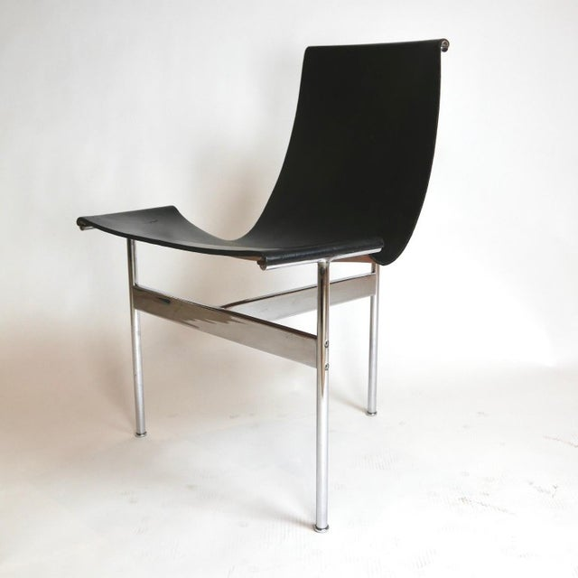 """Set of 6 1952 Katavolos Kelley & Littell for Laverne """"T"""" Chairs in Black Leather For Sale In New York - Image 6 of 13"""