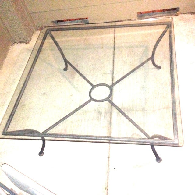 Traditional Vintage Crate & Barrel Coffee Table W Glass Top For Sale - Image 3 of 3
