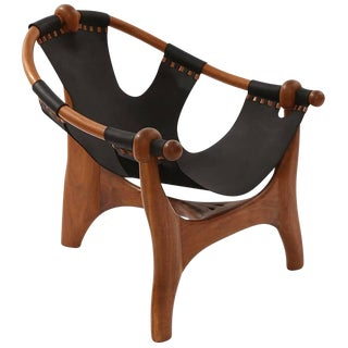 1970s Mid-Century Modern Esther Hughes Walnut and Leather Sling Chair For Sale