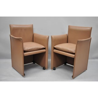 Mario Bellini for Cassina Copper Leather Pair 401 Break Armchair Dining Chairs - a Pair Preview