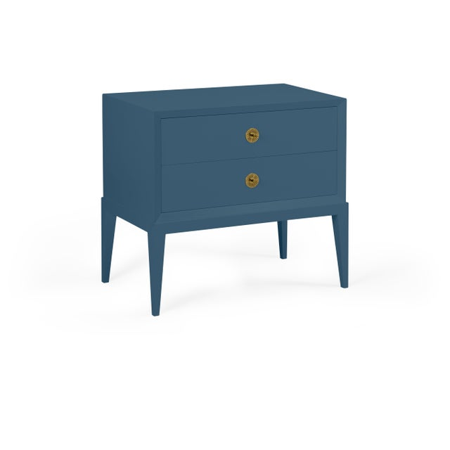 Transitional Casa Cosima Hayes 2-Drawer Side Chest, Van Deusen Blue For Sale - Image 3 of 3