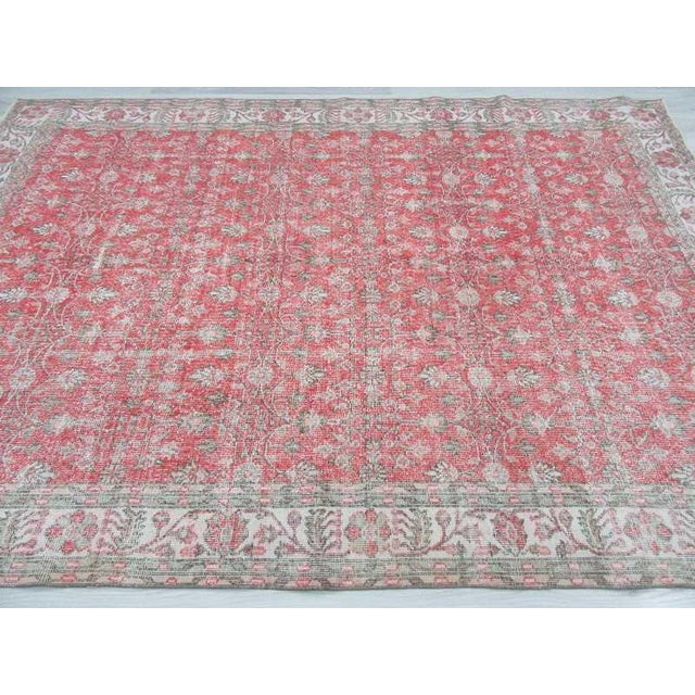 Vintage Floral Turkish Rug - - Image 4 of 6