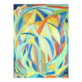 "Georgette London Owens ""Leonid Meteor Shower"" Large Cubist Abstract in Oil, 2000"