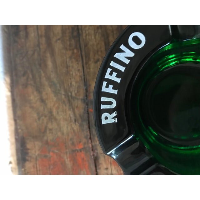 1970s Vintage Chianti Ruffino Pontassieve Green Glass Ashtray For Sale - Image 5 of 7