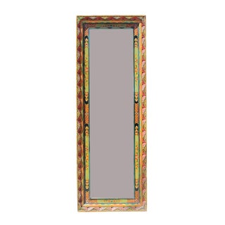 Chinese Tibetan Color Carving Wood Frame Rectangular Mirror For Sale